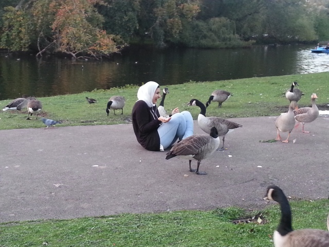 A woman with geese