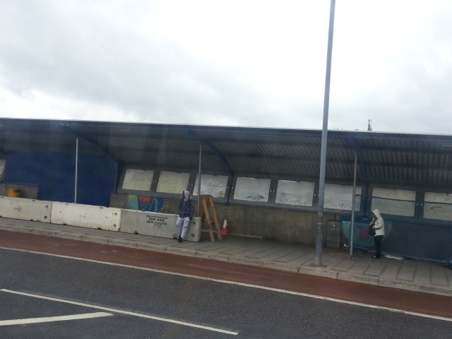 Depressive city life. Thamesmead bus stop